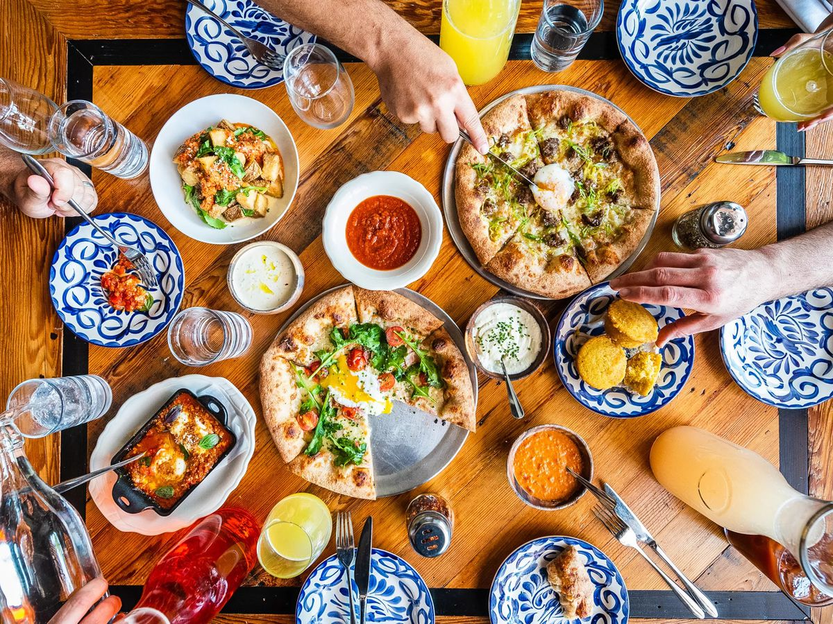 Brunch pizzas and cocktails from All-Purpose Capitol Riverfront