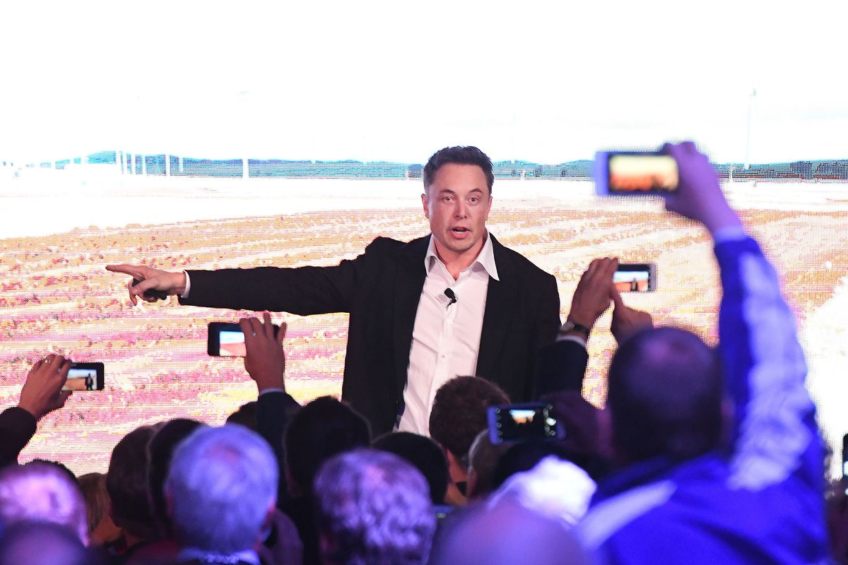 Elon Musk onstage during his presenation at the Tesla Powerpack Launch Event at Hornsdale Wind Farm in Adelaide, Australia.
