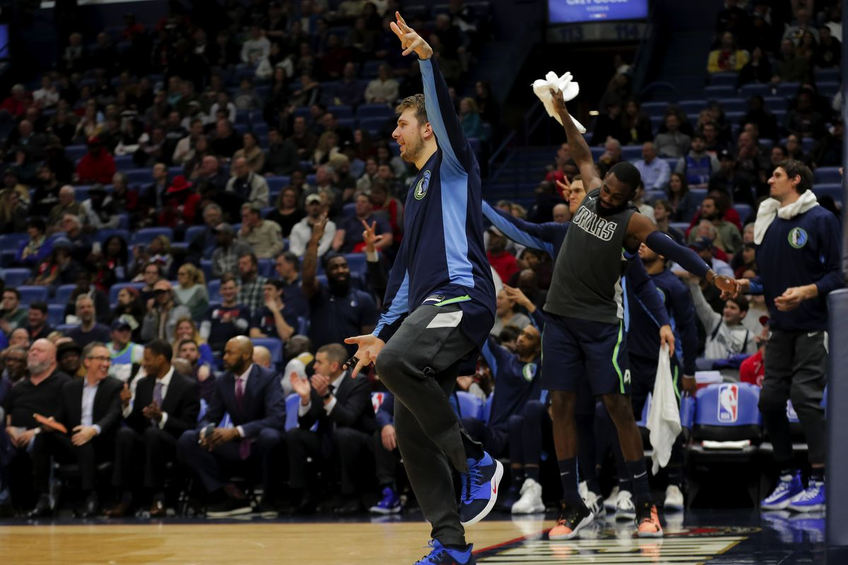Dallas Mavericks forward Luka Doncic celebrates after his team scores against the New Orleans Pelicans during the fourth quarter at the Smoothie King Center.