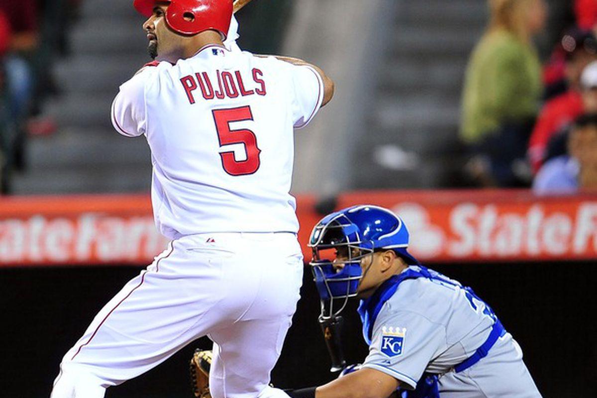 April 6, 2012; Anaheim, CA, USA; Los Angeles Angels first baseman Albert Pujols (5) at bat in the seventh inning against the Kansas City Royals at Angel Stadium. Mandatory Credit: Gary A. Vasquez-US PRESSWIRE