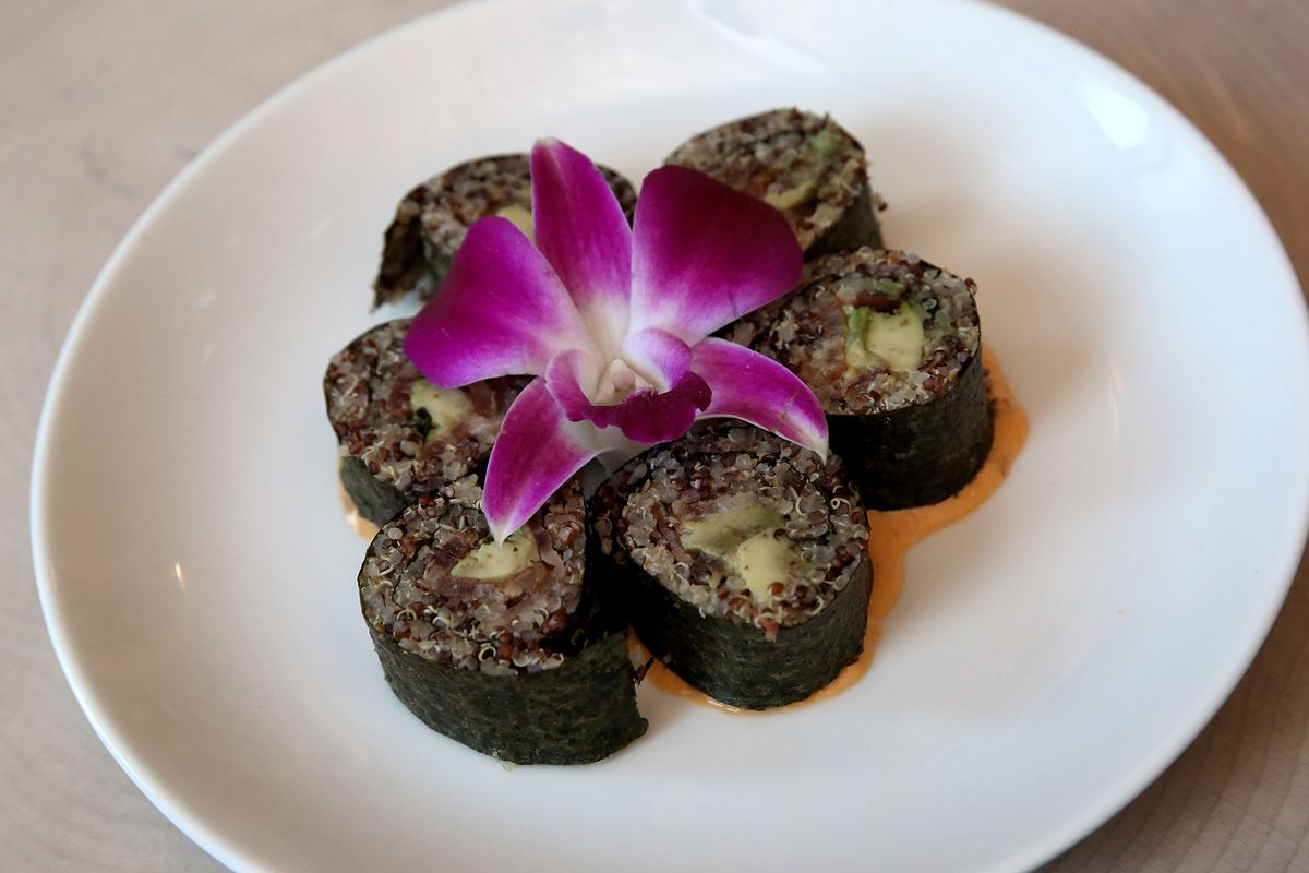 candied bacon quinoa sushi from The Vnyl