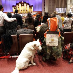 Services dogs and an attendee during the 182nd Annual General Conference for The Church of Jesus Christ of Latter-day Saints in Salt Lake City  Sunday, April 1, 2012.
