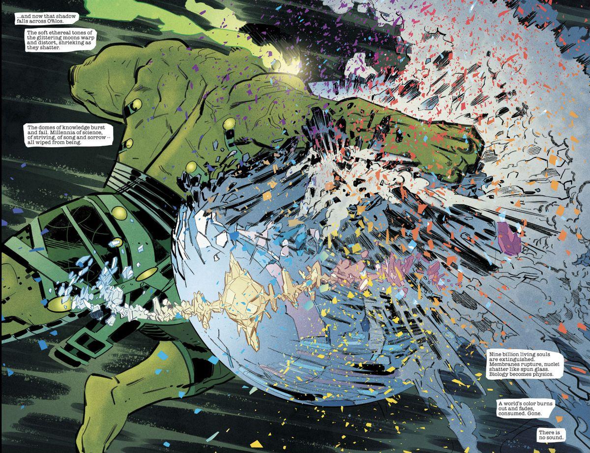 Hulk smashes a planet in Immortal Hulk #25