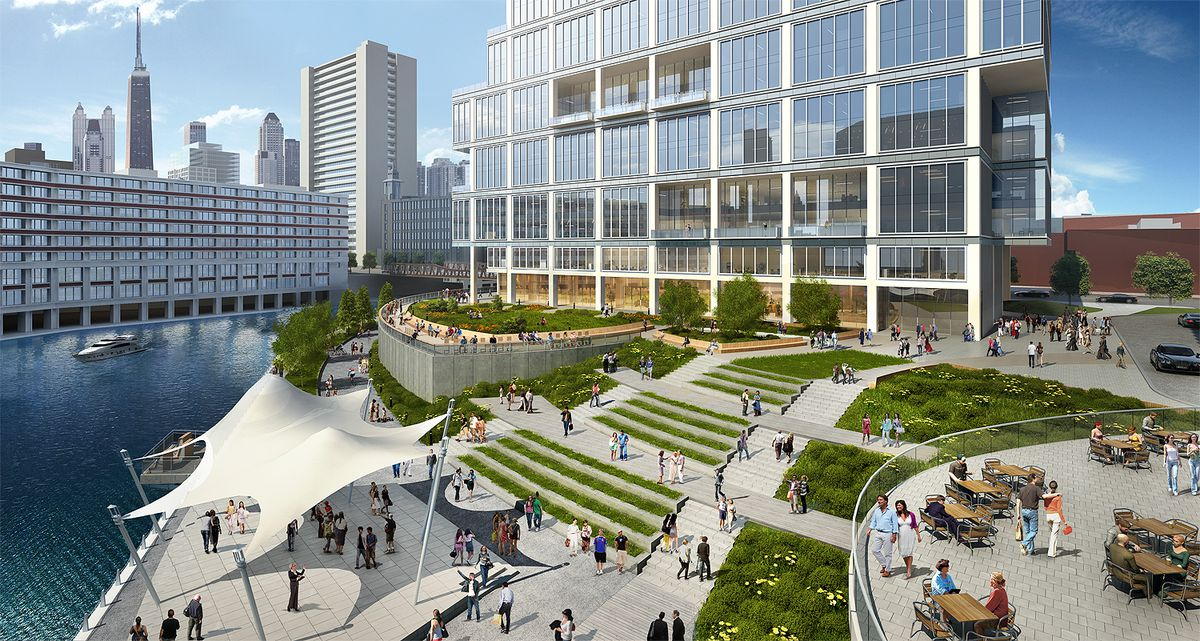 This residential tower along the Chicago River would be joined by three office towers on a 6-acre parcel at 700 W. Chicago Ave., according to the plan by Riverside Investment & Development. | Goettsch Partners