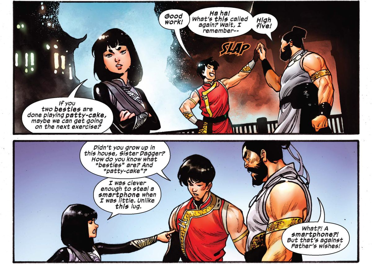 Shang-Chi, Brother Sabre, and Sister Dagger squabble and high five in Shang-Chi #3 (2020).