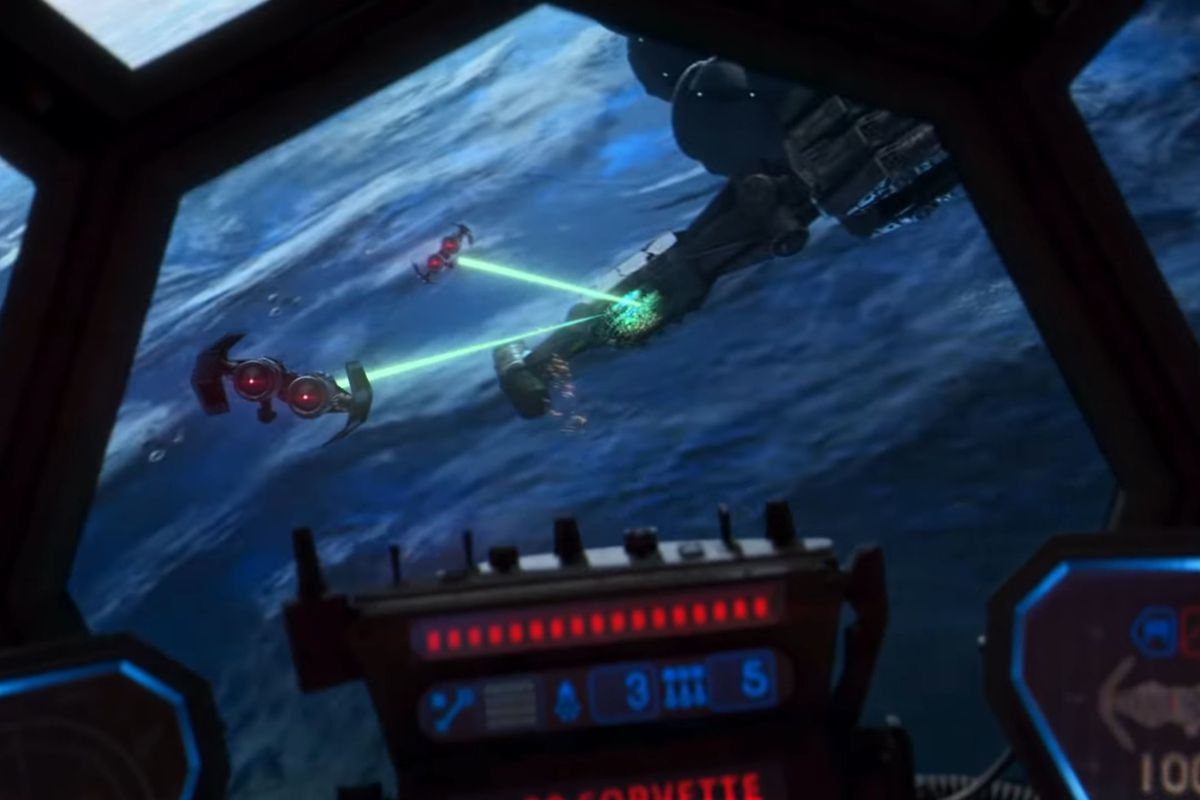 A wing of TIE Bombers lets go with a volley of continuous-beam lasers in Star Wars: Squadrons.