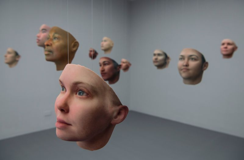 "Artist Heather Dewey-Hagborg used DNA samples she received from Chelsea Manning to recreate various possible physiognomies of Manning's face. The 3D-printed masks formed an art installation called ""Probably Chelsea."""