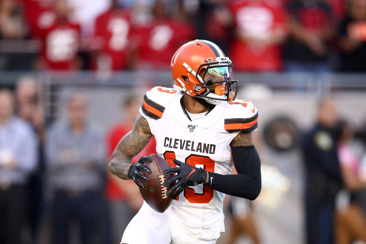 Odell Beckham Jr. of the Cleveland Browns runs with the ball on a flea flicker player against the San Francisco 49ers at Levi's Stadium on October 07, 2019 in Santa Clara, California.