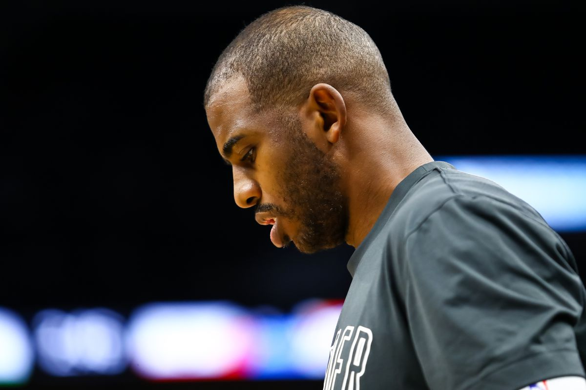 Oklahoma City Thunder guard Chris Paul looks on before the start of a game against the Minnesota Timberwolves at Target Center.