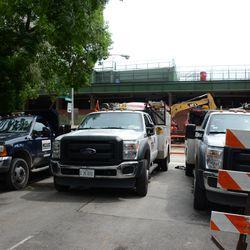 2:50 p.m. Contractors trucks parked on Kenmore near Waveland (note Blackhawks logo) -