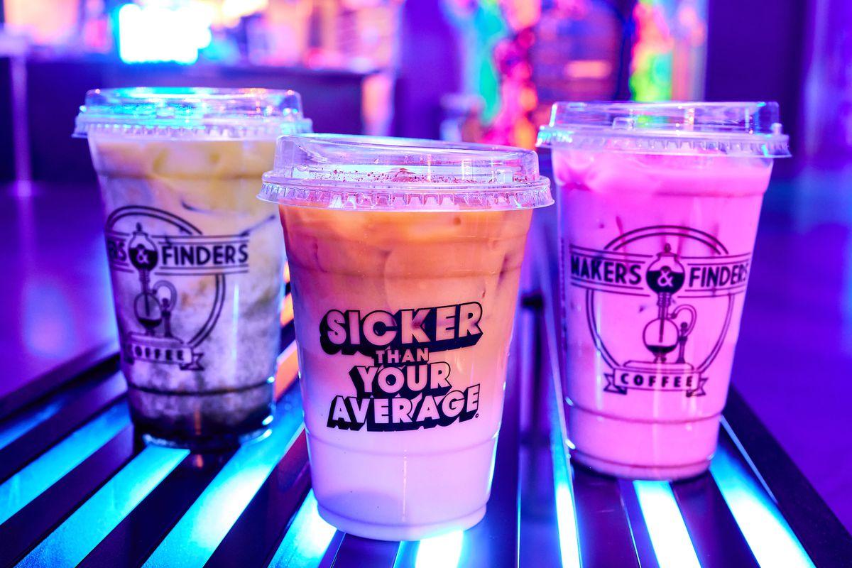 Three neon coffee drinks