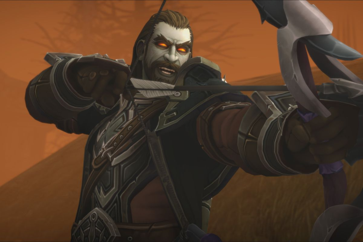 World of Warcraft - Nathanos Blightcaller, an undead man in a leather coat, fires with his bow