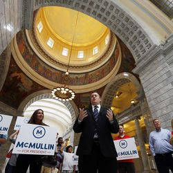 Brian Henderson, adviser to independent presidential candidate Evan McMullin, talks with members of the media at the Capitol in Salt Lake City on Monday, Aug. 15, 2016, after delivering signatures for a petition to put McMullin on the ballot in Utah in November.