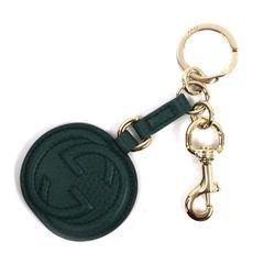 """<strong>Gucci</strong> Leather Logo Keychain at The Tannery, <a href=""""http://curatedbythetannery.com/products/green-leather-logo-keychain"""">$140</a>"""