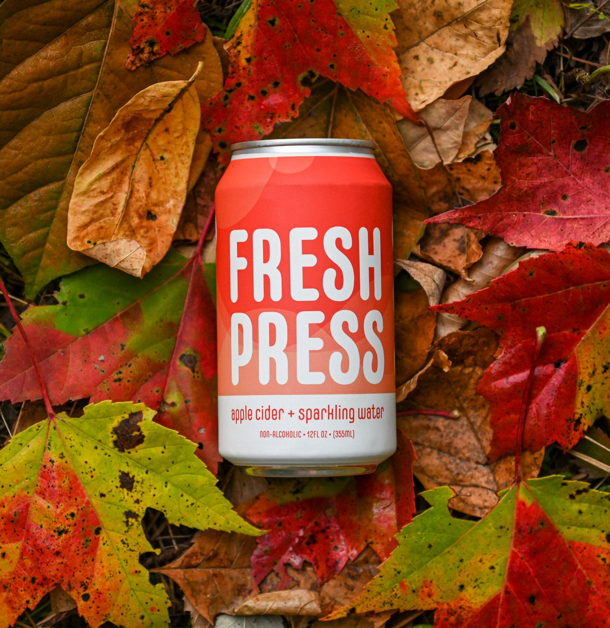 A can of Fresh Press Apple Cider + Sparkling Water from Stowe Cider in Vermont. The cider can lies on top of fallen leaves.