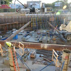 7:04 p.m. The center of the triangle lot excavation -