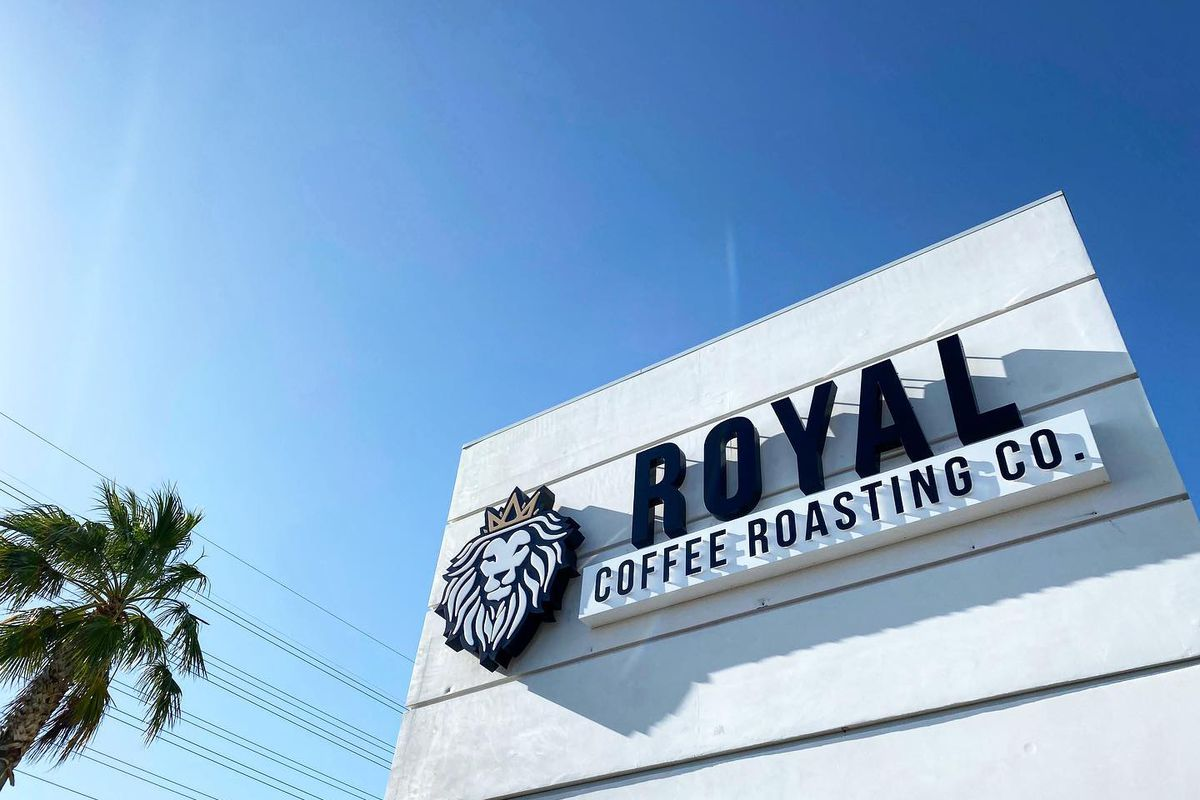 The signage outside one of three new Royal Coffee Roasting Co outposts, moving into existing Black Rock Coffee Bars.