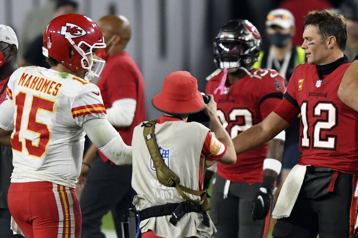 Patrick Mahomes (left) is looking to be the first starting quarterback to repeat as Super Bowl champion since Tom Brady (right) in 2003 and '04.