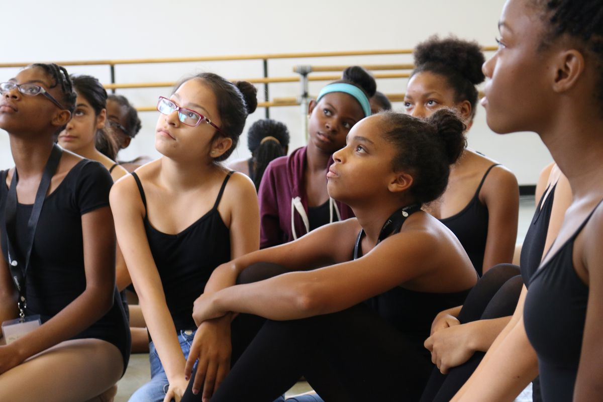 Dancers with an eye on the city's arts high schools listen during a visit by Carmen Fariña at a Lincoln Center Education boot camp for high school auditions.