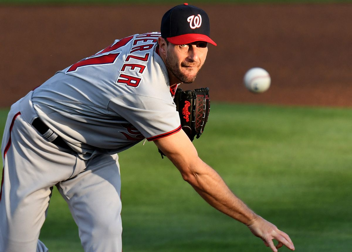 Washington Nationals pitcher Max Scherzer (31) throws a pitch during the first inning against the Toronto Blue Jays at TD Ballpark.