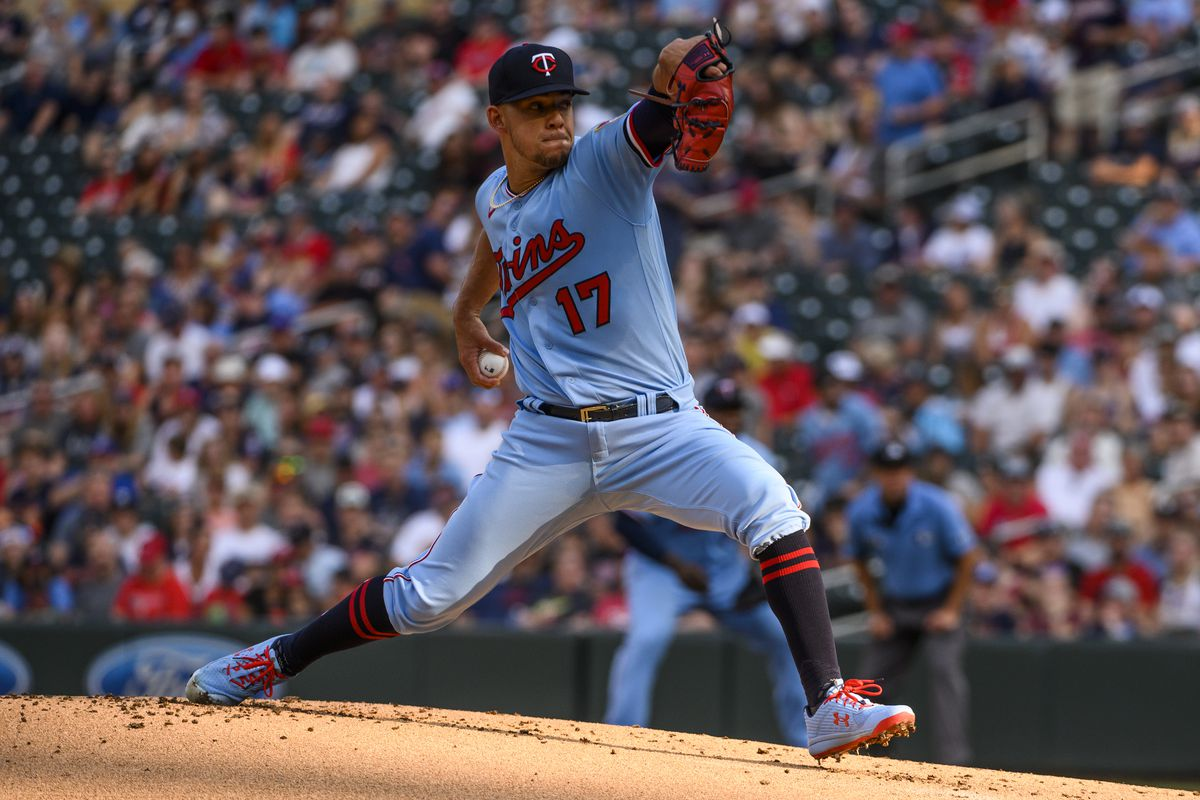 Jose Berrios of the Minnesota Twins pitches in the first inning of the game against the Los Angeles Angels at Target Field on July 24, 2021 in Minneapolis, Minnesota.
