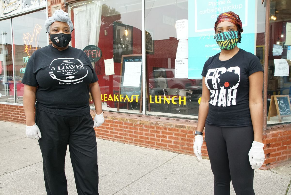 Constance Simms-Kincaid (left) is the owner of 5 Loaves Eatery, her daughter Lyndsey Kincaid also works at the restaurant, Friday afternoon, May 22, 2020.