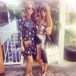 """Saturday morning kicked off with an intimate brunch hosted by <b>REVOLVE</b> and <b>The Zoe Report</b>. Here are LA blogstars Samantha Hutchinson of <a href=""""http://www.couldihavethat.com/""""target=""""_blank"""">Could I Have That?</a> (wearing Anna Sui) and Jenn"""