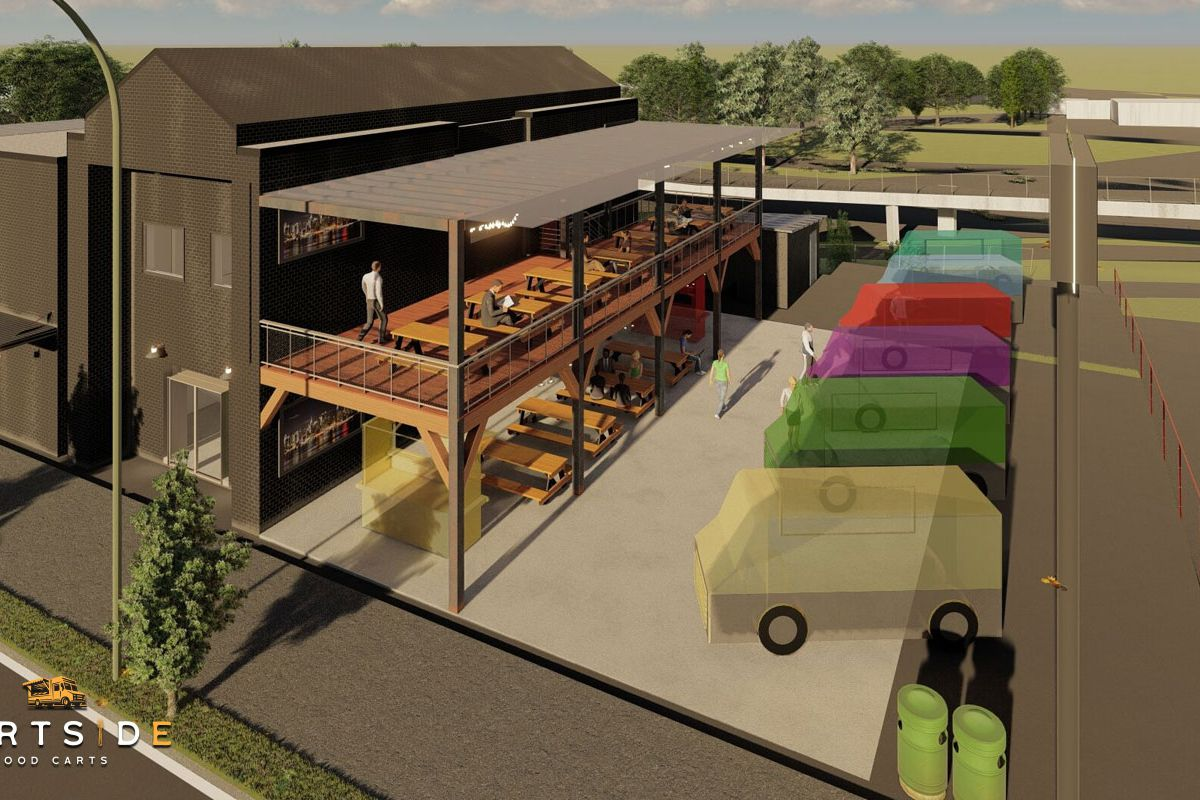 A rendering of six food carts lined up next to a two-story patio, with seating on both levels, attached to a grey building housing a bar and dispensary