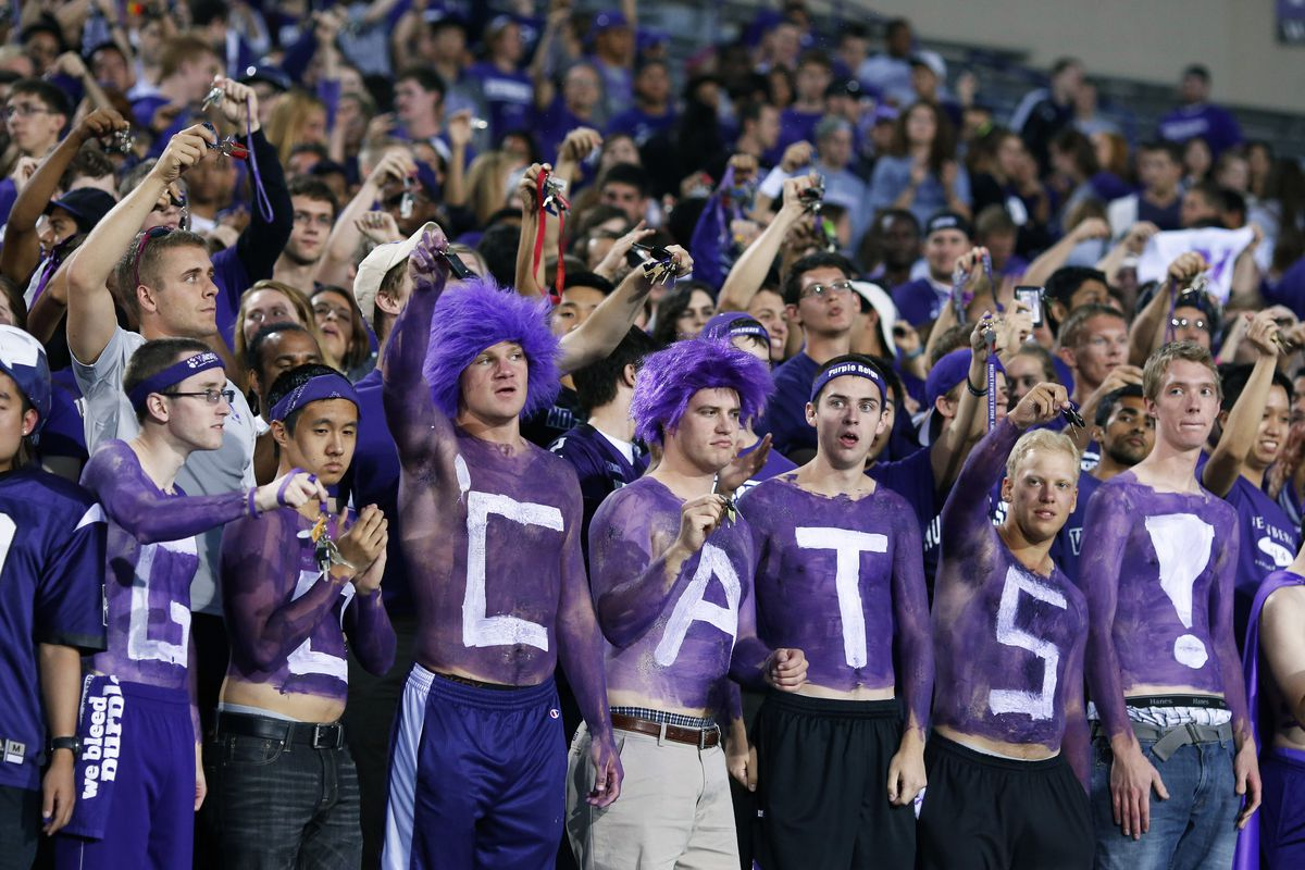 EVANSTON, IL - SEPTEMBER 8: Northwestern Wildcats fans cheer against the Vanderbilt Commodores during the game at Ryan Field on September 8, 2012 in Evanston, Illinois. (Photo by Joe Robbins/Getty Images)