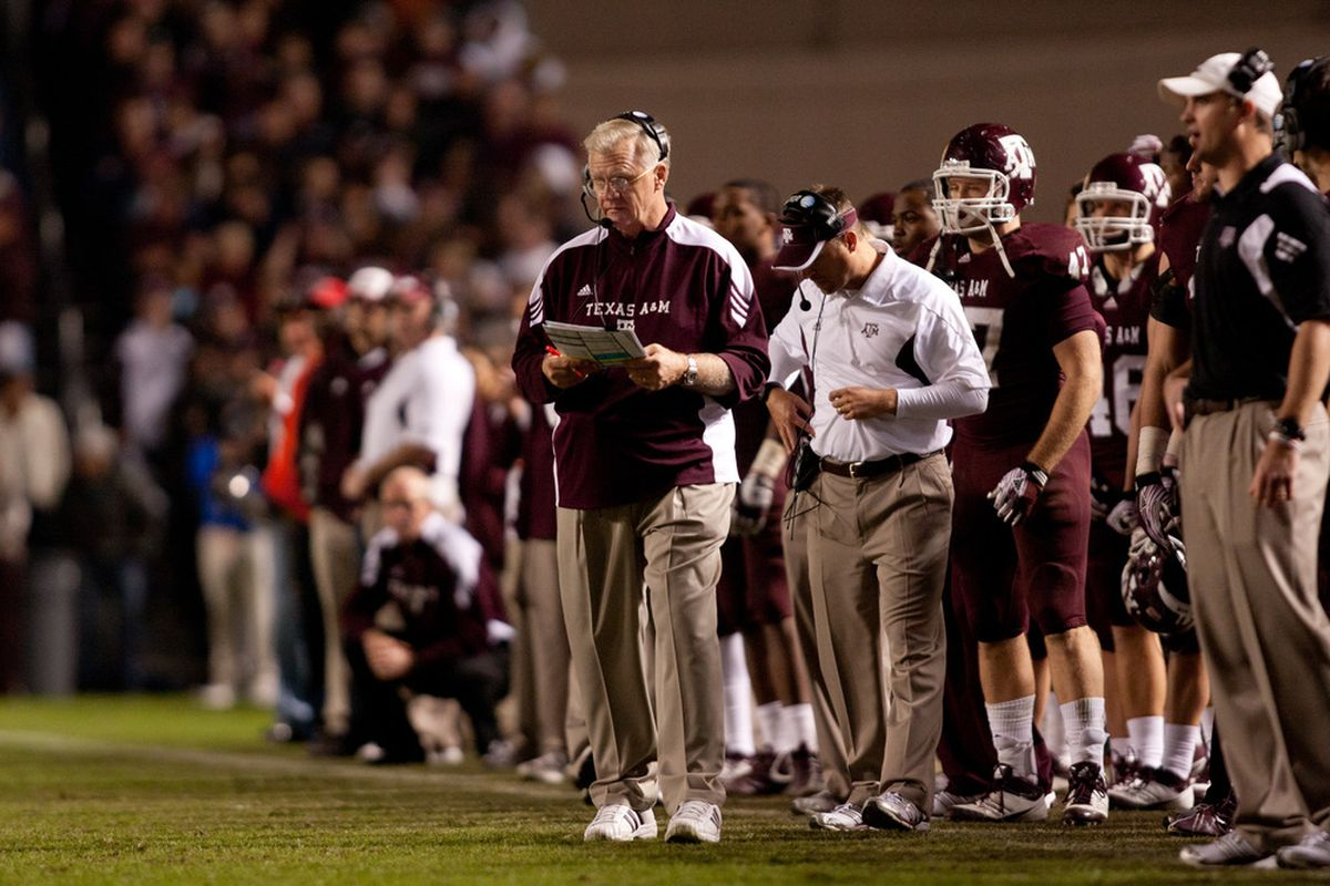 COLLEGE STATION, TX - NOVEMBER 24:  Head Coach Mike Sherman the Texas A&M Aggies works the sidelines in a game against the Texas Longhorns at Kyle Field on November 24, 2011 in College Station, Texas. (Photo by Darren Carroll/Getty Images)