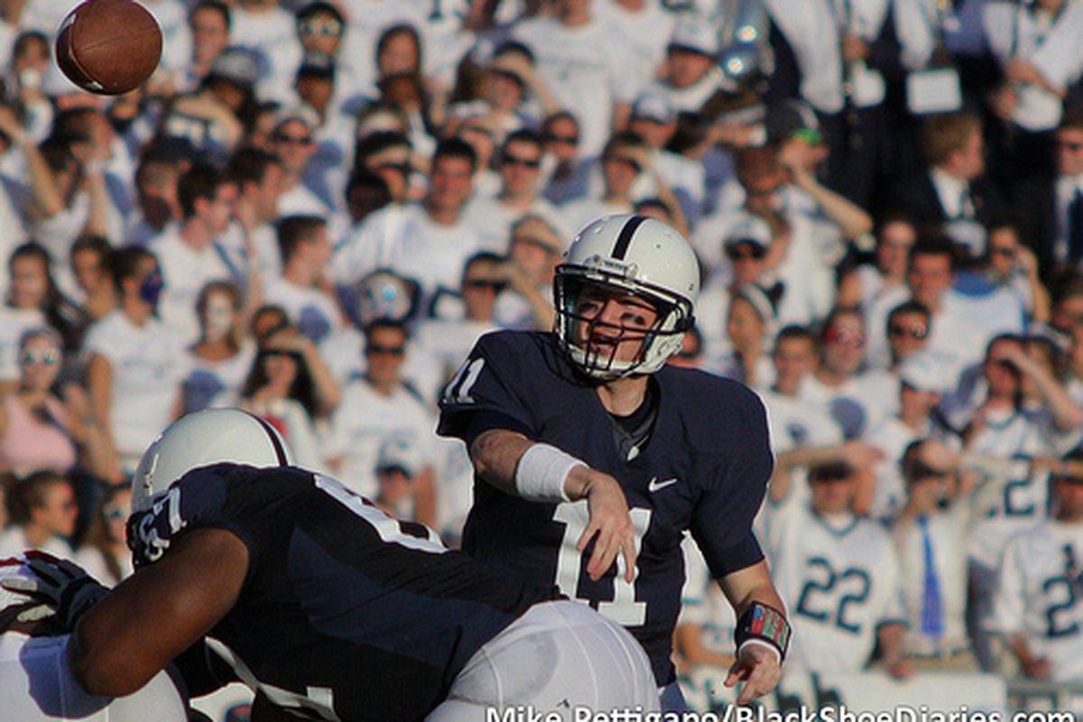 Matt McGloin passes incomplete over the middle against Alabama, Sept. 10, 2011. (Mike Pettigano/BSD)