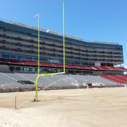 These goal posts were installed about a week before the NFL decided they needed to go 5 feet higher. Whoops