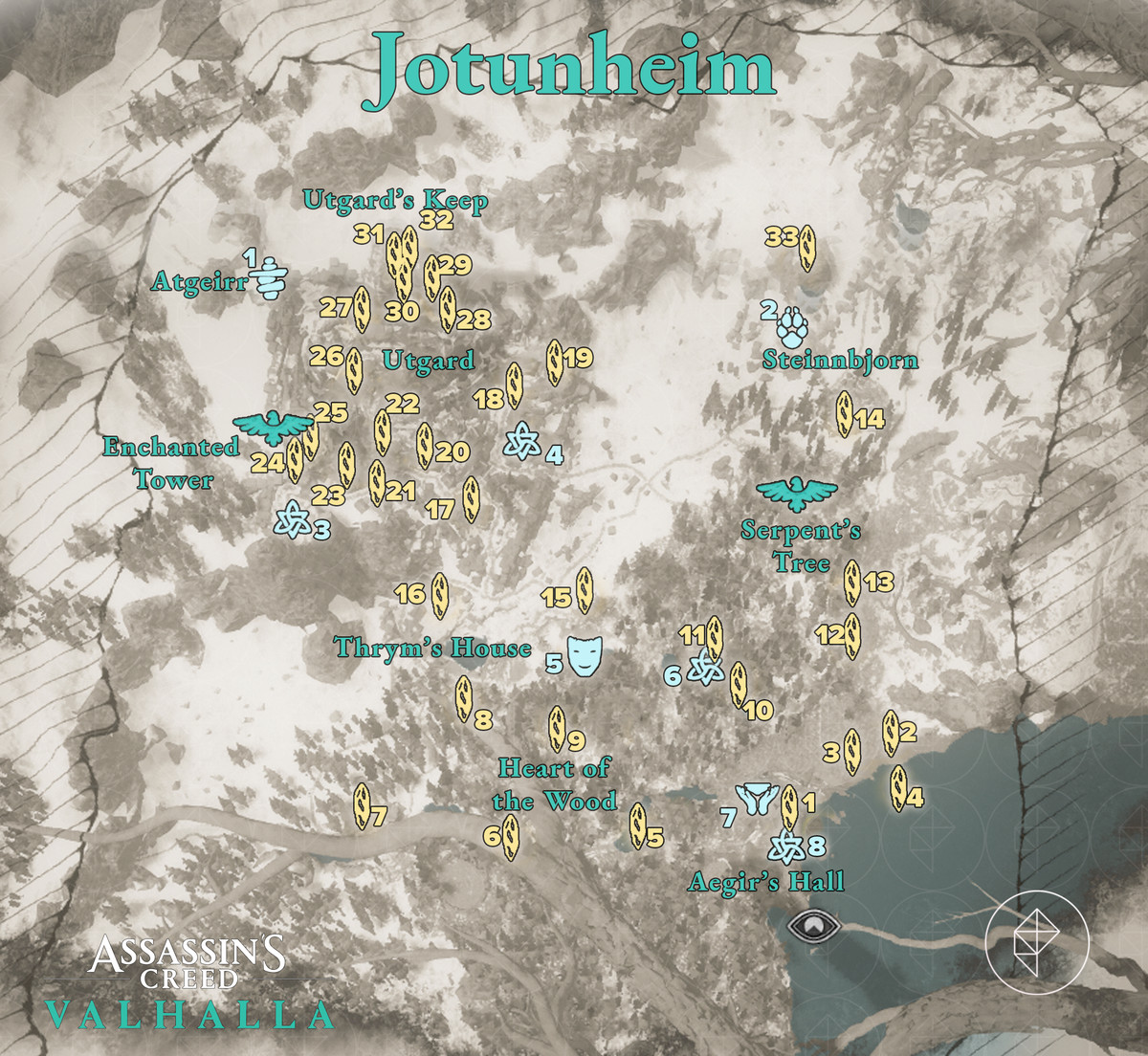 Jotunheim Wealth, Mysteries, and Artifacts locations map