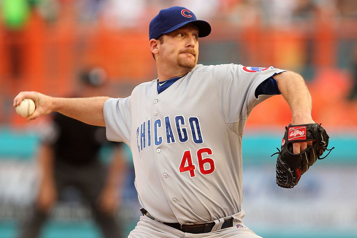 Ryan Dempster of the Chicago Cubs pitches against the Florida Marlins at Sun Life Stadium on May 18, 2011 in Miami Gardens, Florida.  (Photo by Mike Ehrmann/Getty Images)