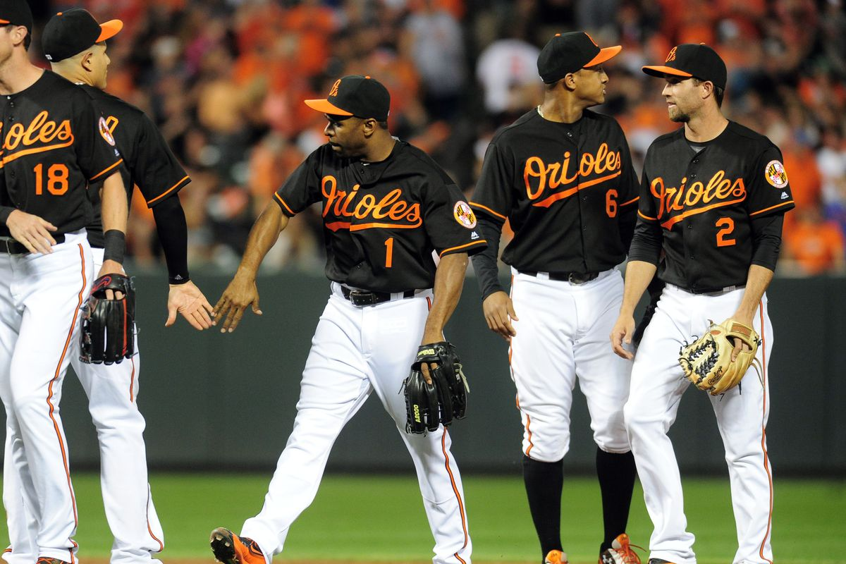 The Orioles celebrate after a win against the Rays.