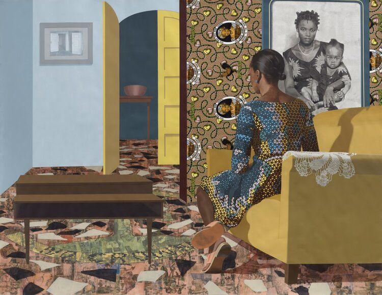 "National Public Housing Museum:""Mother and Child"","" Njideka Akunyili Crosby (2016). Courtesy the Artist, Victoria Miro and David Zwirner. © Njideka Akunyili Crosby"