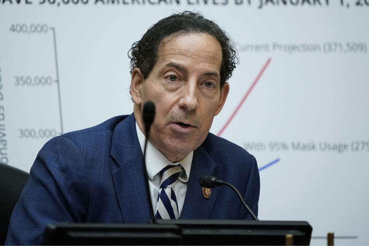 In this Oc. 2, 2020, file photo Rep. Jamie Raskin, D-Md., speaks as Secretary of Health and Human Services Alex Azar testifies to the House Select Subcommittee on the Coronavirus Crisis, on Capitol Hill in Washington.