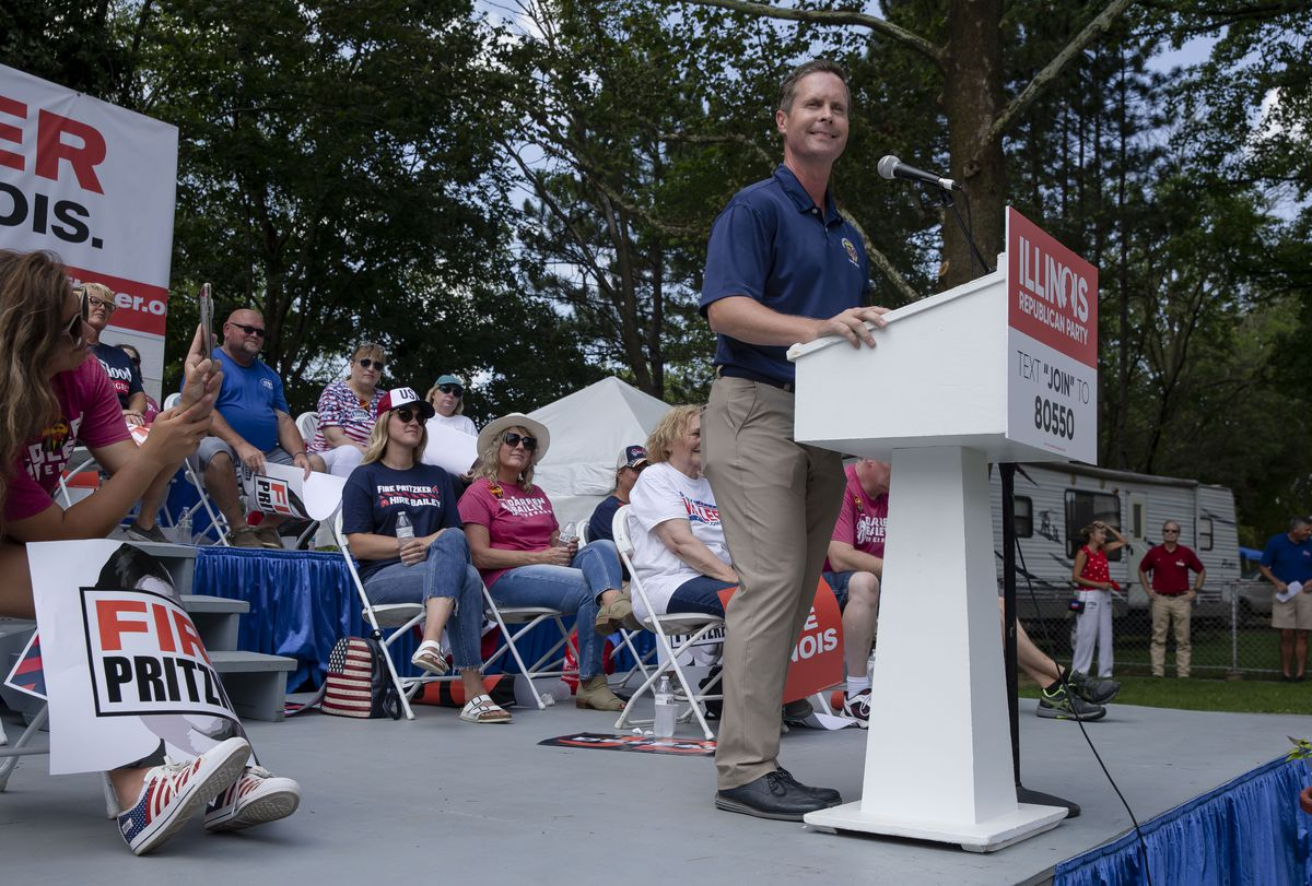 U.S. Rep. Rodney Davis, R-Ill., delivers his remarks during Republican Day at the Illinois State Fair on Thursday.