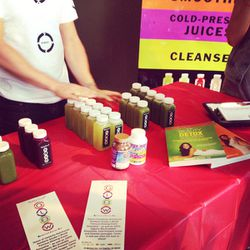 With hard work comes great reward. Kimberly Snyder's Glow Bio juice tasting spread.
