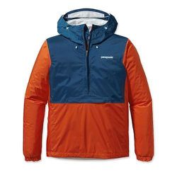 """<strong>Patagonia</strong> Torrentshell Pullover in Electric Orange, <a href=""""http://www.patagonia.com/us/product/mens-torrentshell-pullover-rainwear?p=83931-0"""">$119</a>"""