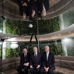President Russell M. Nelson of The Church of Jesus Christ of Latter-day Saints, center, answers a question during an interview in Bogota, Colombia, on Monday, Aug. 26, 2019. At left is Elder Quentin L. Cook of the Quorum of the Twelve Apostles. At right is Elder Enrique R. Falabella, General Authority Seventy. They previously met with President Ivan Duque of Colombia.