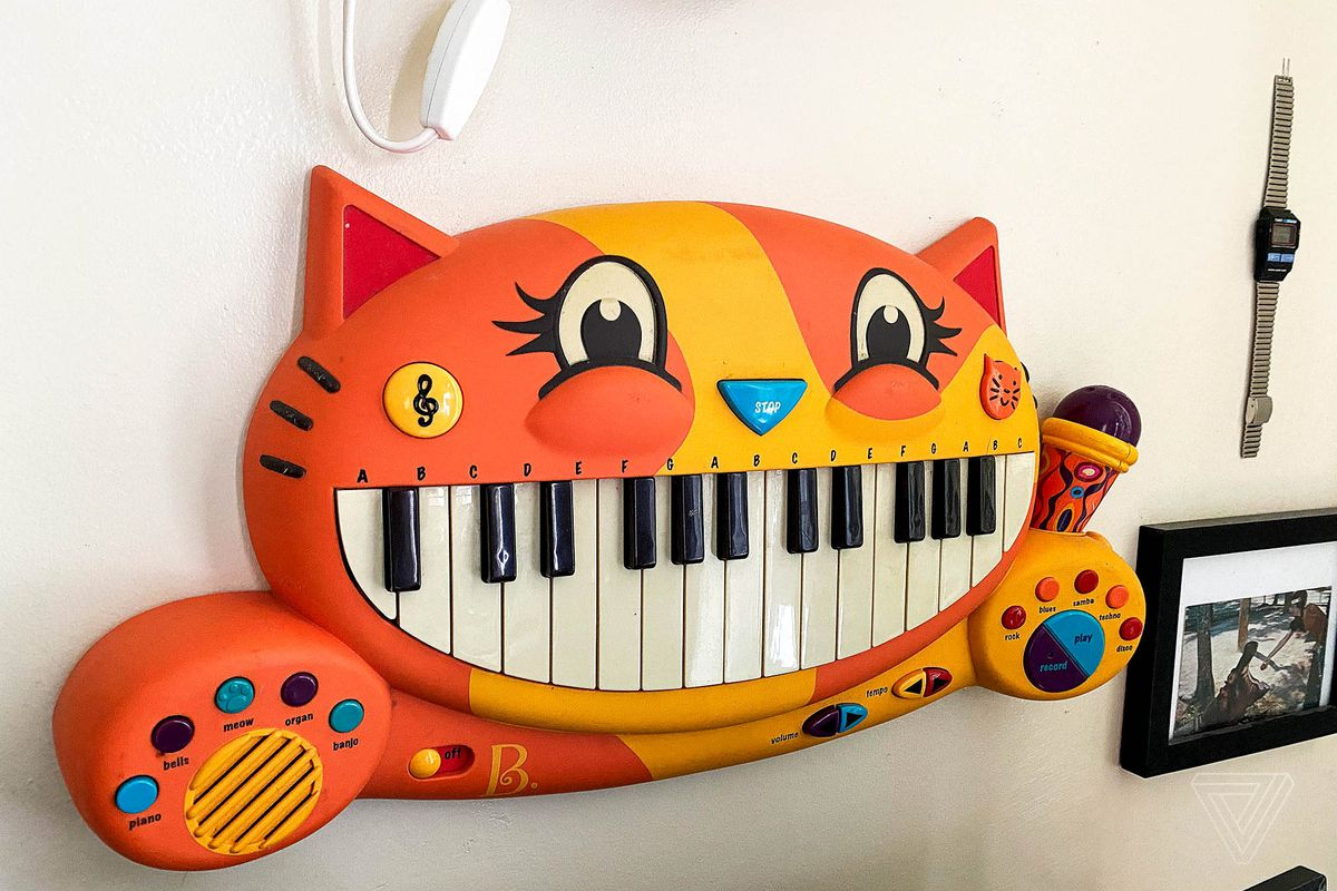 A cheerful cat piano.
