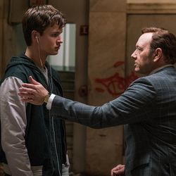 """Doc (Kevin Spacey, right) tells Baby (Ansel Elgort) he has another job for him in """"Baby Driver."""""""