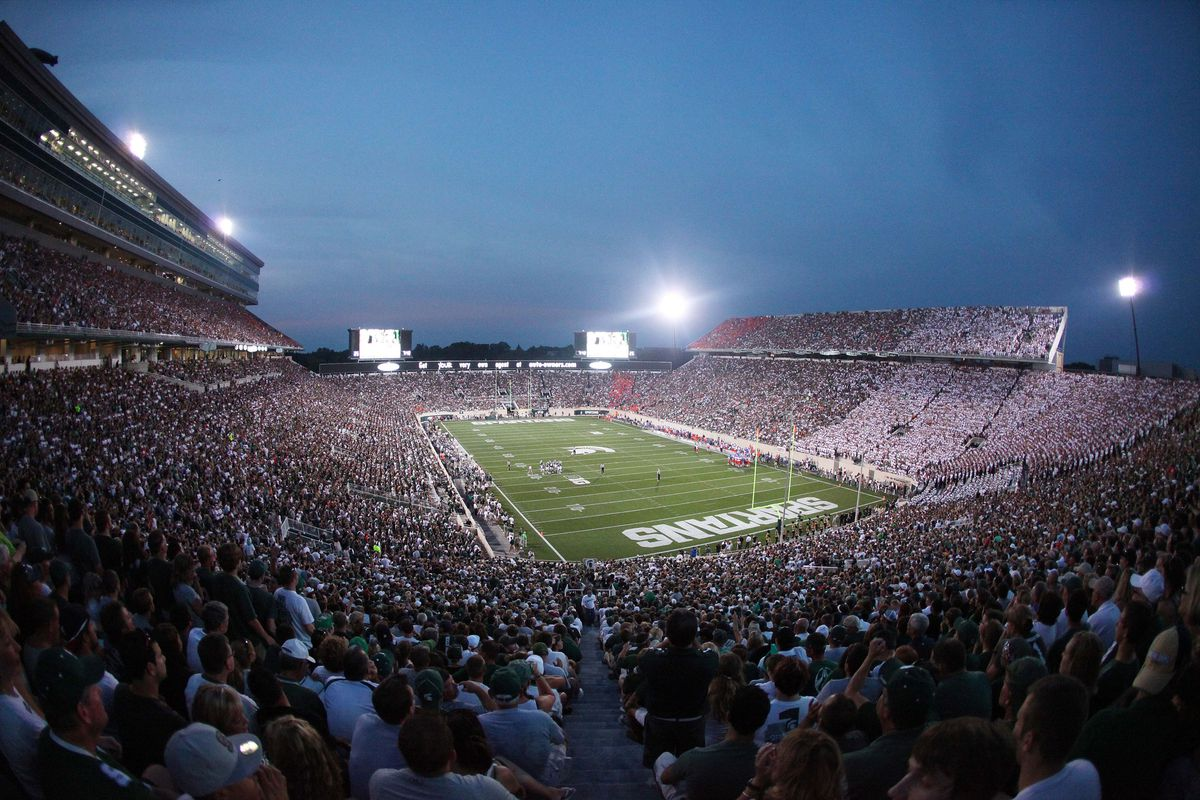 August 31, 2012; East Lansing, MI, USA; General view of Spartan Stadium during the first quarter of the game between the Michigan State Spartans and the Boise State Broncos.    Mandatory Credit: Mike Carter-US PRESSWIRE
