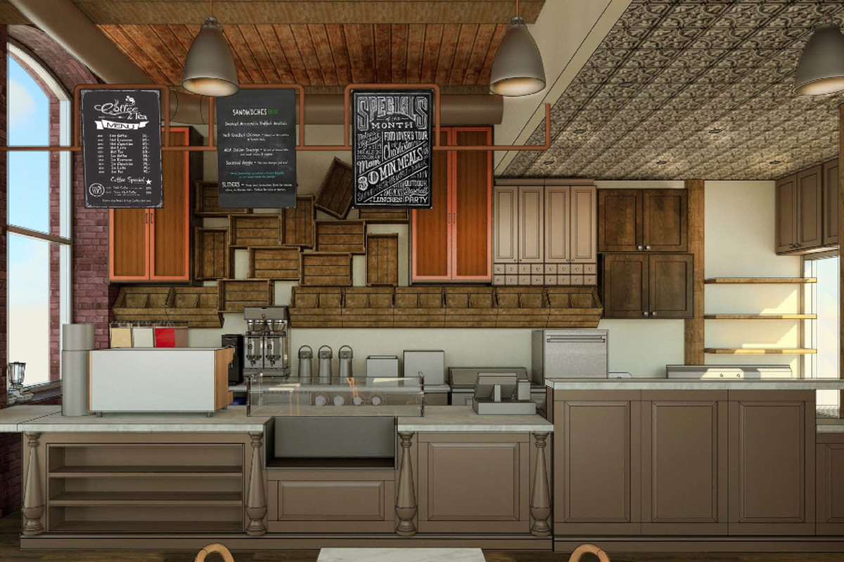 Rendering for the Beantowne Coffee House remodel