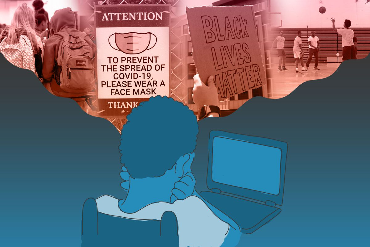 Photo illustration of a student looking at a laptop with a thought bubble above his head. In the bubble is a collage of images: students gathered at a lunch table, a sign encouraging the use face masks, a protest sign that reads Black Lives Matter, and a group of students playing basketball in gym class.