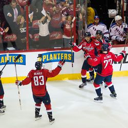 Capitals Celebrating In Front of Ranger Bench