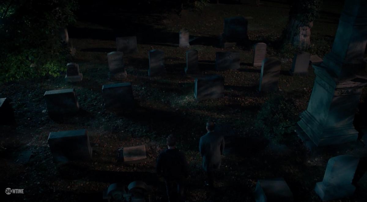 Gravestones in a cemetery