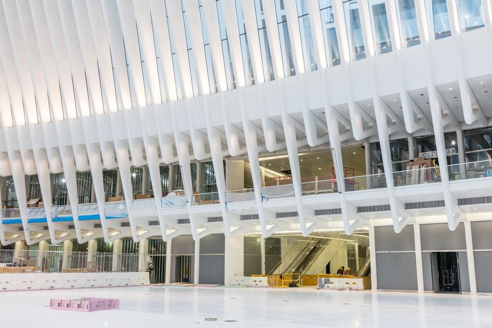 Inside the all-white marble Oculus, a yet-to-open shopping mall at the World Trade Center