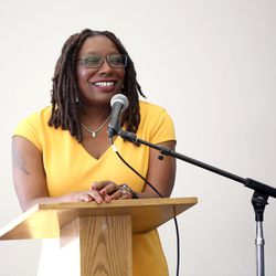 """Darlene McDonald, who is running for Congress, speaks at """"What Is Juneteenth?"""" — an introduction program and forum on Juneteenth Day — at the Salt Lake City Main Library in Salt Lake City on Monday, June 19, 2017."""